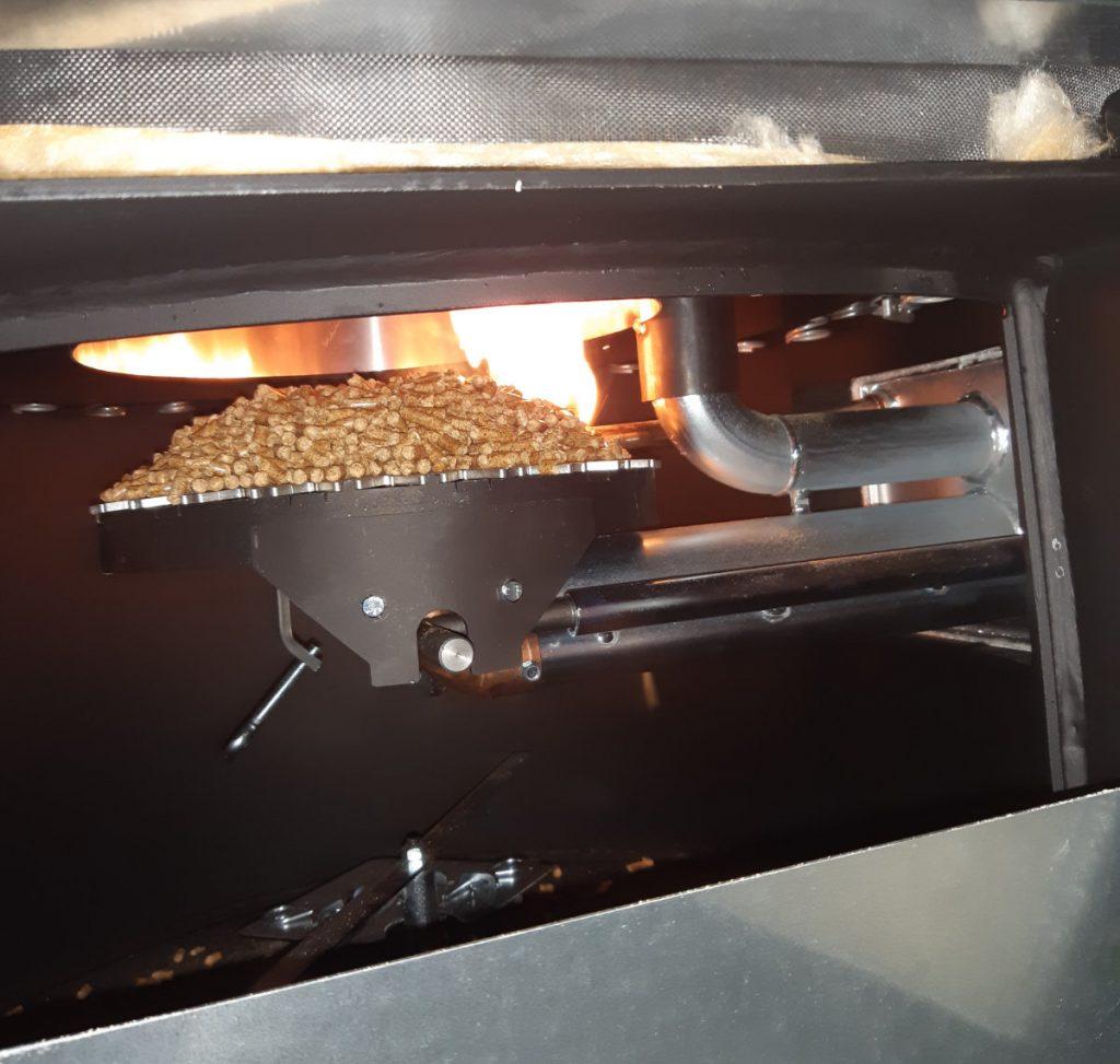 Pellet boiler once lit