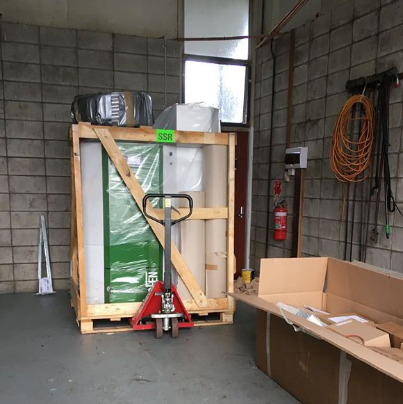Delivery of the pellet boiler to the school