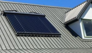 solar hot water system installed on roof